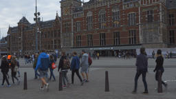 Amsterdam Central Railway Station Building Exterior and People 2 Live Action