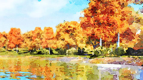 Watercolor landscape with autumn trees and lake Animación