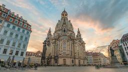Dresden Germany time lapse 4K, city skyline sunrise timelapse at Frauenkirche Footage
