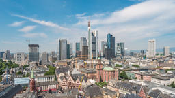 Frankfurt Germany time lapse 4K, aerial view city skyline timelapse at business Footage