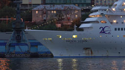 Night view of Japanese cruise liner Pacific Venus at pier in seaport Footage