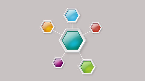 Colorful hexagon polygonal boxes with pop up animation After Effects Template