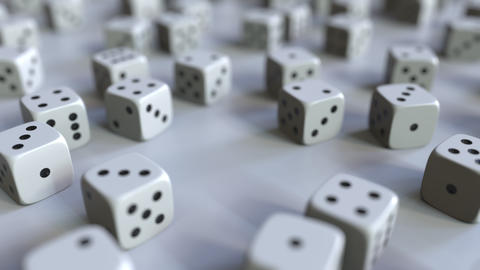 Dice with Russian ruble sign among scattered gambling dices. Forex success or Live Action