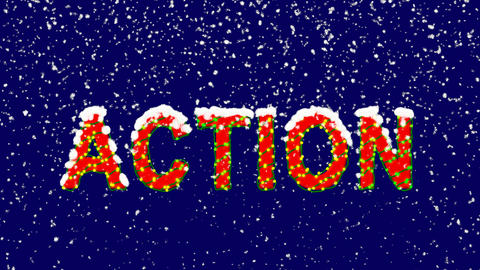 New Year text text ACTION. Snow falls. Christmas mood, looped video. Alpha Animation