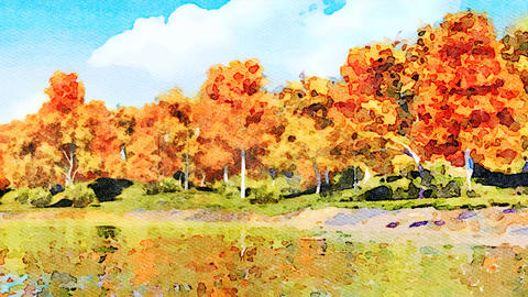Autumn trees reflected in water watercolor landscape Animación