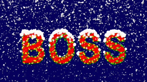 New Year text text BOSS. Snow falls. Christmas mood, looped video. Alpha channel Animation