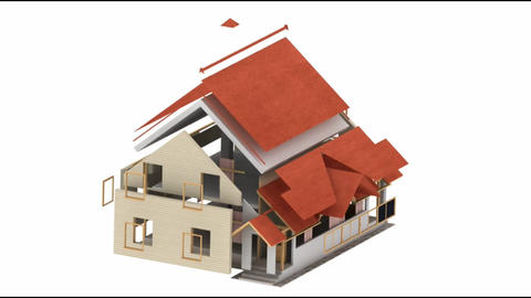 Time-lapse 3d animation showing a process of building of the house Animation