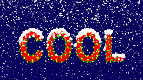 New Year text text COOL. Snow falls. Christmas mood, looped video. Alpha channel Animation