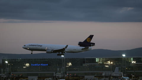 Lufthansa Cargo McDonnell Douglas MD-11 approaching at the sunrise Live Action