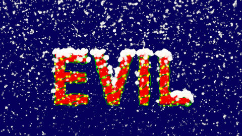 New Year text text EVIL. Snow falls. Christmas mood, looped video. Alpha channel Animation