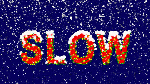 New Year text text SLOW. Snow falls. Christmas mood, looped video. Alpha channel Animation