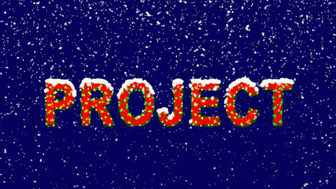 New Year text text PROJECT. Snow falls. Christmas mood, looped video. Alpha Animation