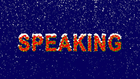 New Year text text SPEAKING. Snow falls. Christmas mood, looped video. Alpha Animation