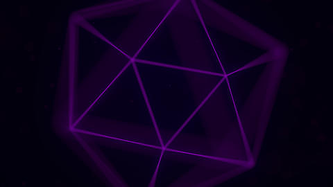 Purple icosahedron, Platonic solid. 3D graphics related loopable animation Footage