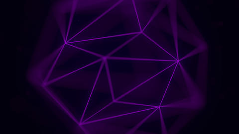 Purple polygonal solid. Loopable animation Live Action
