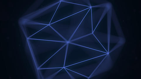 Abstract blue polygonal solid. Loopable 3D animation Live Action