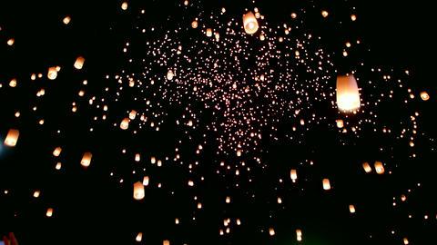 Floating lanterns or Khom Loy at Chiang Mai Loy Krathong Festival Footage