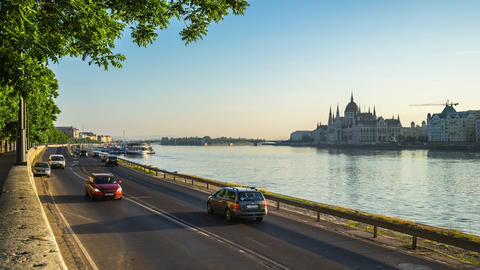 Budapest city street with view of Danube River in Hungary timelapse 4K Footage