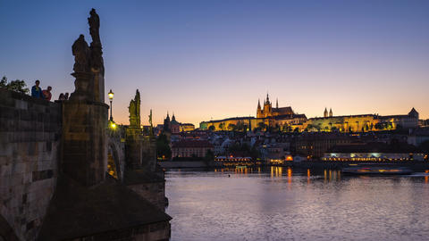 Timelapse of Prague old town with Charles Bridge in Prague city, Czech Republic Footage