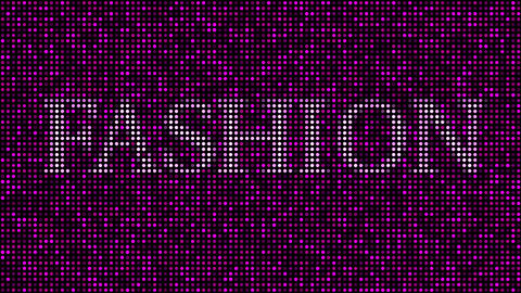 Revealing word FASHION among pink and purple blinking dots. Loopable animation Live Action
