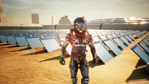 Astronaut martian returns to base after inspecting solar panels. Super realistic Animation