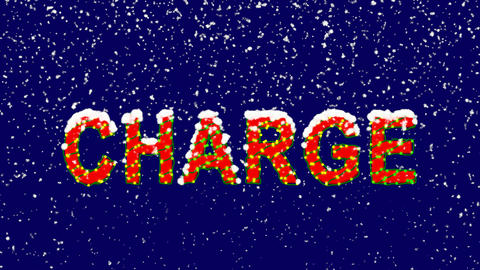 New Year text text CHARGE. Snow falls. Christmas mood, looped video. Alpha Animation