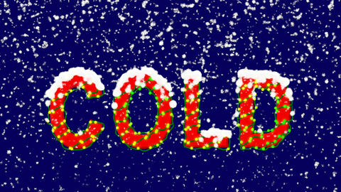 New Year text text COLD. Snow falls. Christmas mood, looped video. Alpha channel Animation