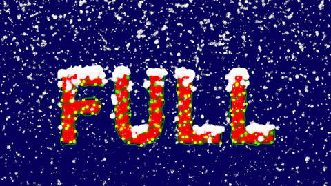 New Year text text FULL. Snow falls. Christmas mood, looped video. Alpha channel Animation