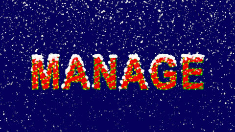 New Year text text MANAGE. Snow falls. Christmas mood, looped video. Alpha Animation
