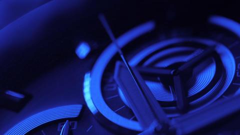 Luxury man watch detail, chronograph close up. Blue neon light Footage