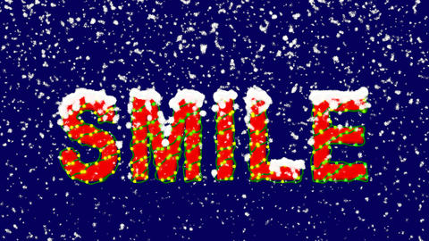 New Year text text SMILE. Snow falls. Christmas mood, looped video. Alpha Animation