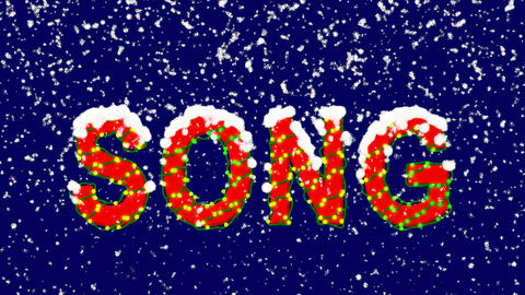 New Year text text SONG. Snow falls. Christmas mood, looped video. Alpha channel Animation