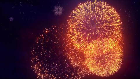 05. Goldern Red Color Big Spectacle Fireworks Display on Black Night Sky Live Action
