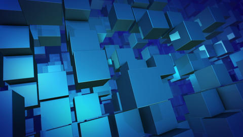Flying 3D design cubes in a horizontal shot Animation