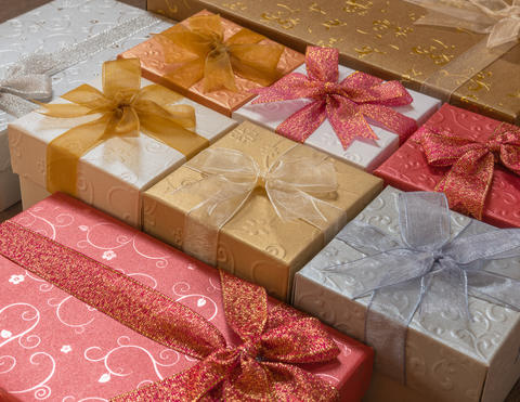 Colorful Christmas gift boxes background Photo