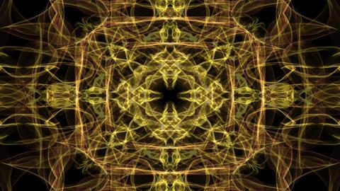 Mandala gold, live fractal patterns, video tunnel on black background. Animated Animation