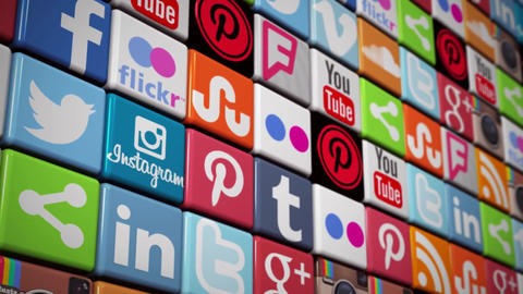 Social Media Wall icons animation Facebook Twitter... Stock Video Footage