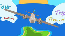 Airplane is floating on the ocean by passing through the tagged clouds. - Animation