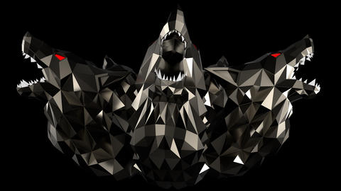 Low Poly Wolf Head VJ Loop Animation