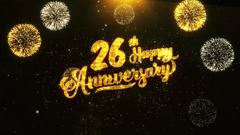26th Happy Anniversary Text Greeting, Wishes, Celebration, invitation Background Footage