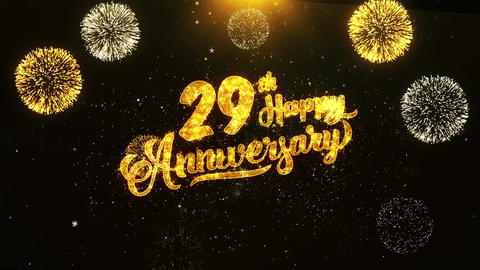 29th Happy Anniversary Text Greeting, Wishes, Celebration, invitation Background Footage
