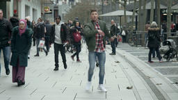 Urban Dance on Busy Pedestrian Street Footage