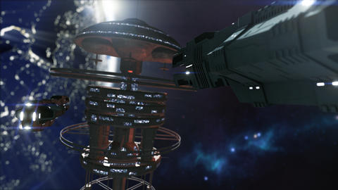 3d rendering. Powerful space station and a scifi spaceship Fotografía