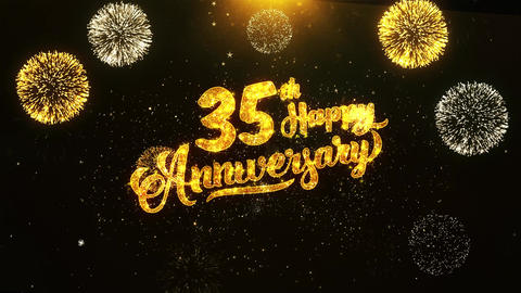 35th Happy Anniversary Text Greeting, Wishes, Celebration, invitation Background Footage