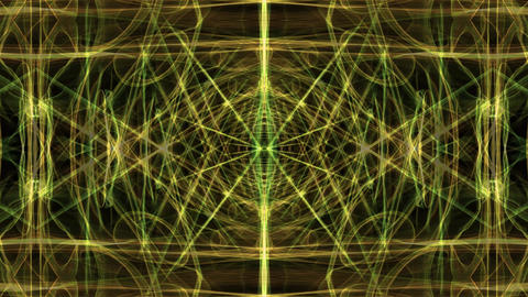 Gorgeous soft ornament in tunnel motion. Green magic light fractal patterns on Animation