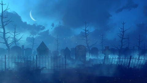 Abandoned graveyard with magic lights at misty night GIF