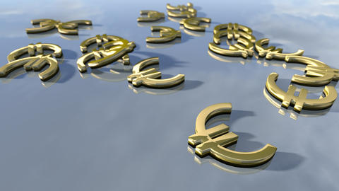 Shiny gold Euro money signs. 3d rendering Photo