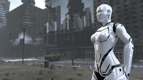 Futuristic robot woman on apocalyptic Time Square New York Manhattan. 3D Fotografía
