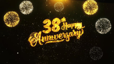 38th Happy Anniversary Text Greeting, Wishes, Celebration, invitation Background Footage
