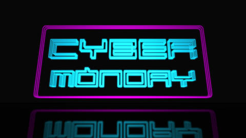 Cyber Monday Sale Neon Sign 3D Text Looping Animation ビデオ